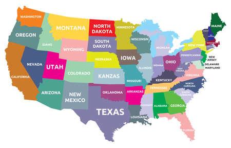 EE.UU. mapa con los estados Foto de archivo - 31266478