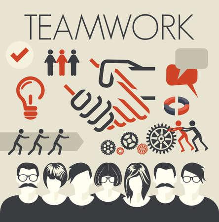 pacto: Tarjeta Trabajo en equipo Vectores