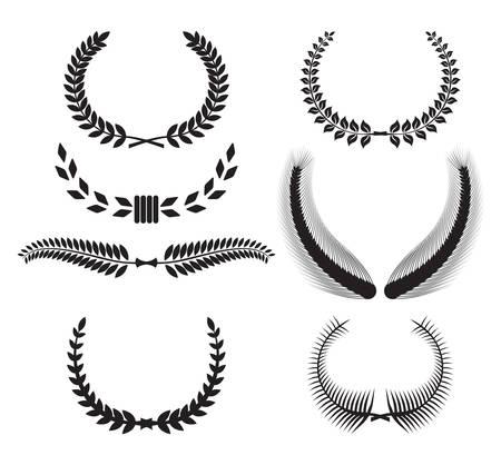 設計のための月桂樹の花輪のセット  イラスト・ベクター素材