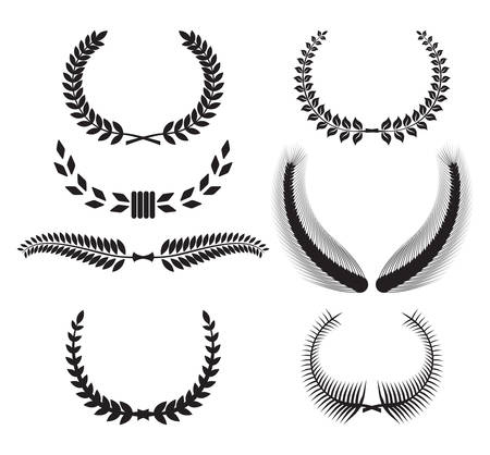Set of laurel wreaths for design 向量圖像