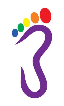 발 기호 - 발 인쇄 LGBT 플래그
