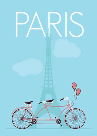 Paris - Eiffel Tower retro poster Vector