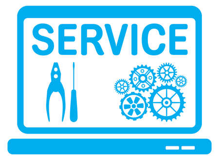 laptop repair: Computer service icon Illustration