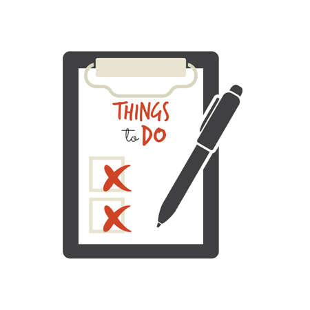 writing on screen: Things to do - check list