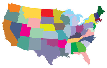 map of the united states: USA map with states Illustration