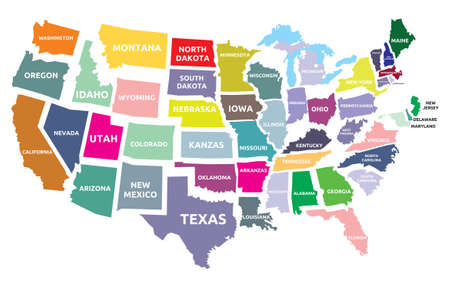 new york map: USA map with states Illustration