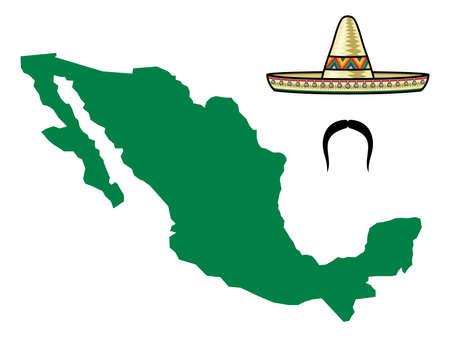 drapeau mexicain: Carte du Mexique Illustration
