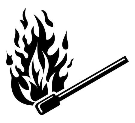 arson: Burning match stick - fire sign