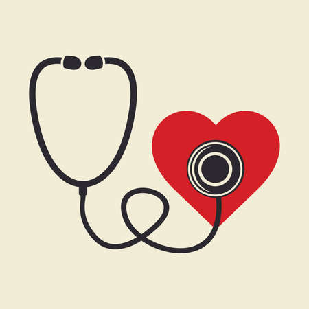stetoscope: Stethoscope and heart Illustration