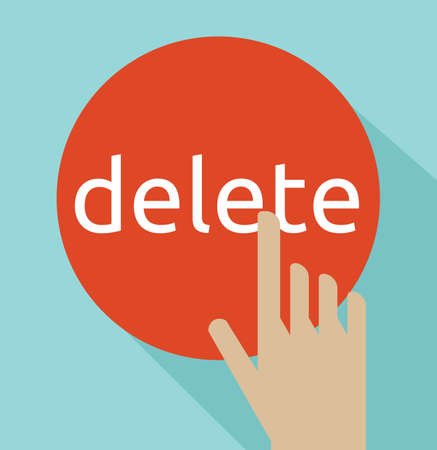 computer keys: Hand click on delete button