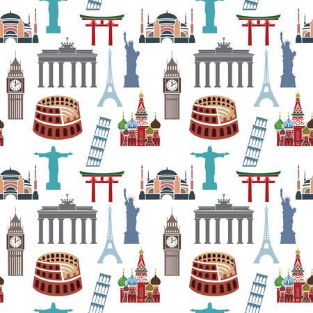 유명한: 세계적으로 유명한 건물 패턴 일러스트