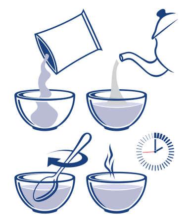 comiendo cereal: Cocinar instrucci�n para preparar avena. C�mo preparar muesli, copos de ma�z, cereales de desayuno Vectores