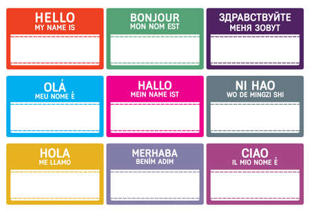 name badge: Different languages name tag with copy space.