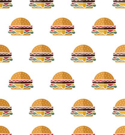 Hamburger vector seamless pattern Vector