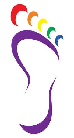 huellas pies: Símbolo del pie - pie bandera lgbt impresión