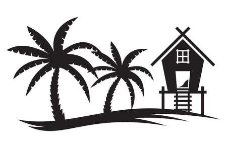 熱帯の夏イラスト - ヤシの木とビーチ ハウス