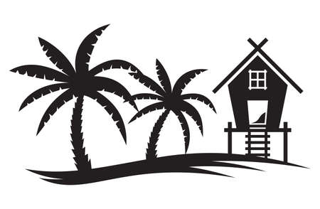 Tropical summer illustration - Palm tree and Beach House Vectores