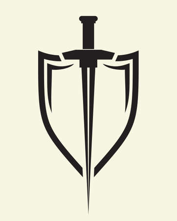 Protect shield and sword Vector