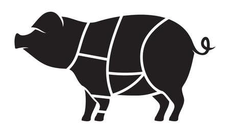 veal: Pork meat cuts illustration Illustration