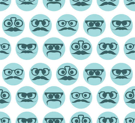 Hipster faces expressions seamless pattern Vector
