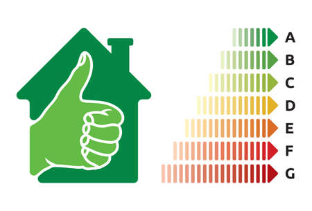 energy rating: House energy efficiency rating Illustration