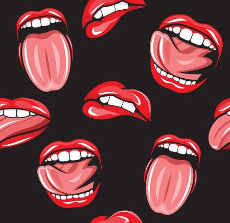 pucker: Lips tongue retro seamless pattern Illustration