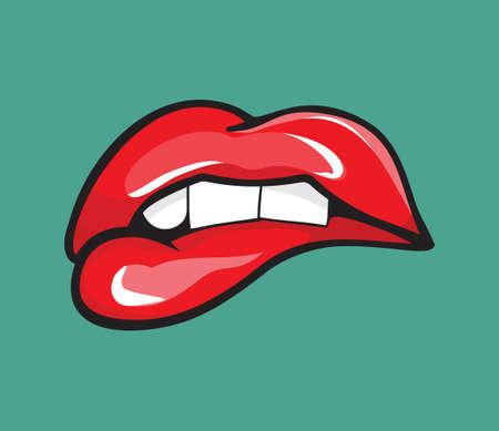 彼女の赤い唇の歯のポップアートをかむ