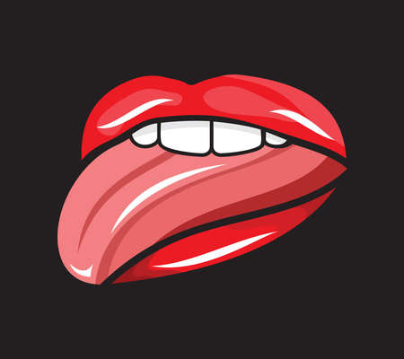 licking in isolated: Licking lips illustration