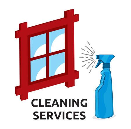 servicio domestico: Servicios de limpieza ilustraci�n Vectores
