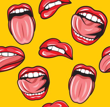 Mouth pop art vector seamless pattern