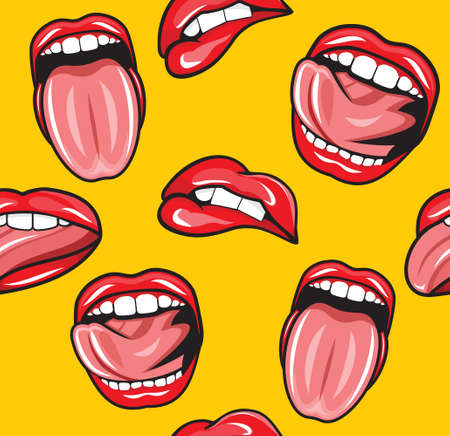 Mouth pop art vector seamless pattern