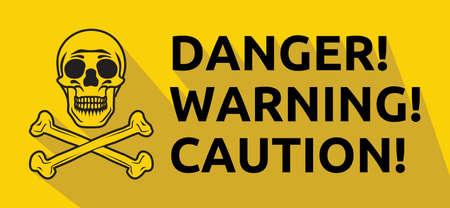 vector skull danger sign: Danger warning caution vector sign Illustration