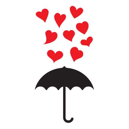 umbrella and hearts card template royalty free cliparts vectors