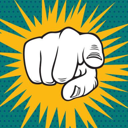 discriminate: Hand pointing pop art illustration Illustration