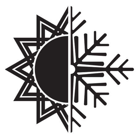 defrost: Air conditioning icon  summer winter Illustration