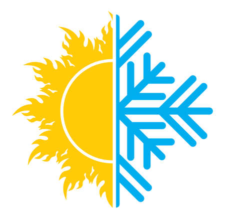 hot air: Air conditioning icon  summer winter Illustration