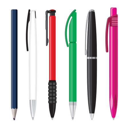 colour pencil: Office pens illustration