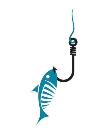 낚시 후크와 물고기 벡터 아이콘 일러스트