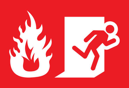green exit emergency sign: Fire emergency exit vector sign