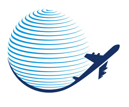 Globe and plane travel icon