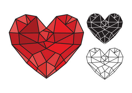 heart diamond: Diamond heart  low poly vector heart