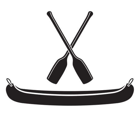Canoe with Paddle Vector Illustration Illustration