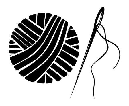 Needle and yarn ball vector illustration
