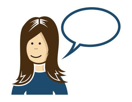 call centre girl: Woman with speech bubble  cloud speech
