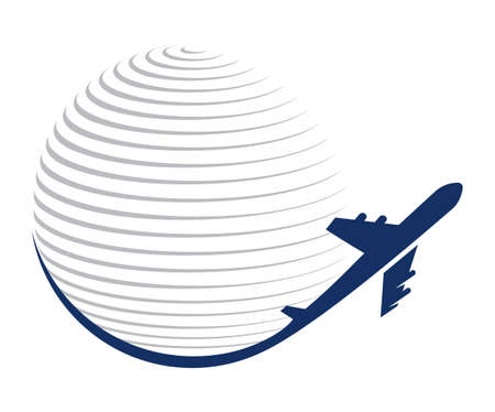 Globe and plane travel icon