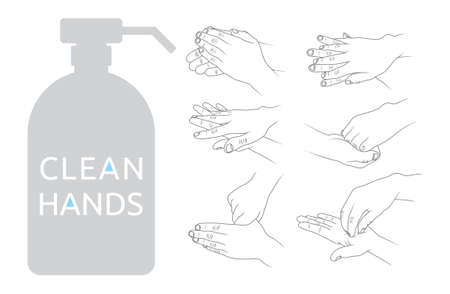 please wash your hands label: Clean hands vector illustration Illustration