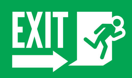 green exit emergency sign: Emergency exit vector sign