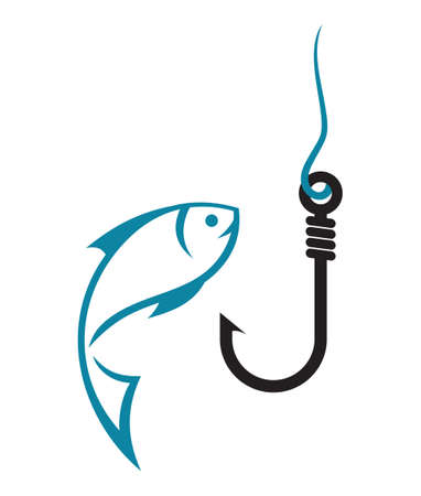 Fishing hook and fish icon