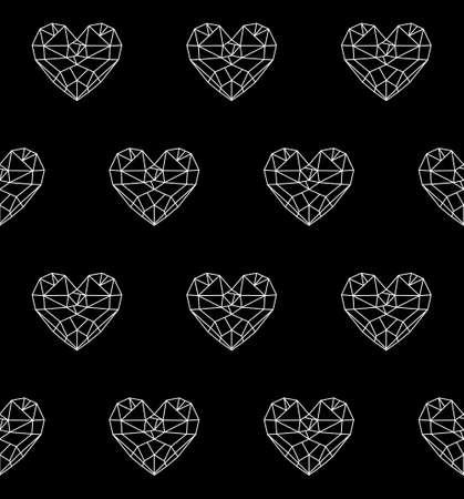 diamond heart: Diamond heart  low poly vector heart seamless pattern