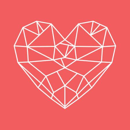 diamond heart: Diamond heart  low poly vector heart